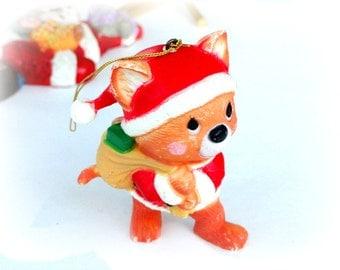 Vintage Santa Kitten Christmas Ornament, Holiday Tree Decor