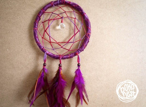Dream Catcher - Sparkling Smile - With Clear Crystal Drop Prism, Pink and Brown Feathers - Home Decor, Mobile