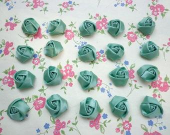 SALE--50 pcs25X10mm Green Lovely Rose Satin Flowers