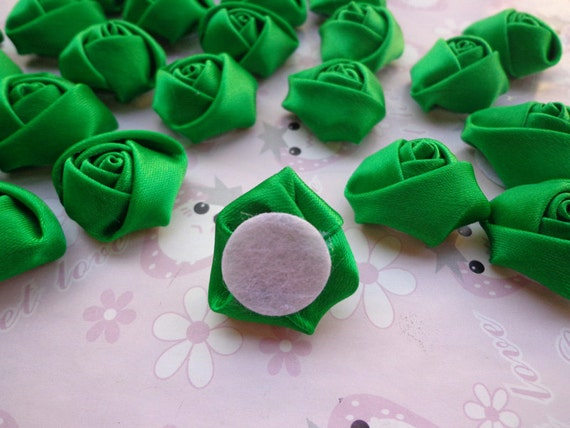 sale 50 pcs25x10mm green lovely rose satin flowers from. Black Bedroom Furniture Sets. Home Design Ideas