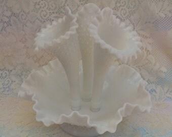 Fenton Milk Glass Epergne Vase Fluted Vase Hob Nail with Basket Weave Pattern Large Size Opalescent