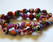 Multicolor natural felt ball necklace
