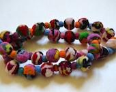 Multicolor natural felt ball necklace