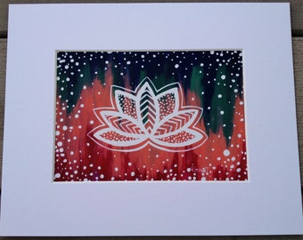 little lotus - matted art print