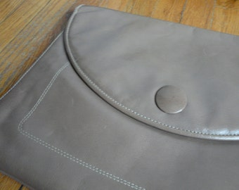 Creeds Brown Leather Envelope Clutch