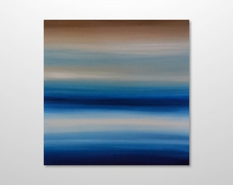 Original 24 x 24 Minimalist Abstract Seascape Ocean Painting - Blue, White, Beige - Square Canvas Acrylic Wall Art Home Decor: Ocean Breeze
