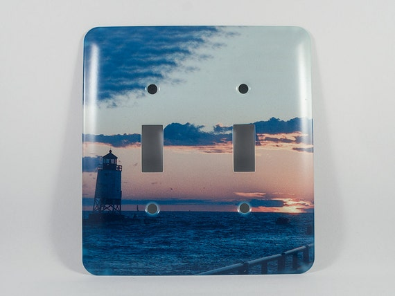 Sale light switch cover charlevoix michigan lighthouse sunset for Lighthouse switch plates