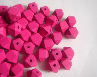 Geometric Cyclamen Wood Beads -20mm Big Hole Geometric Jewelry
