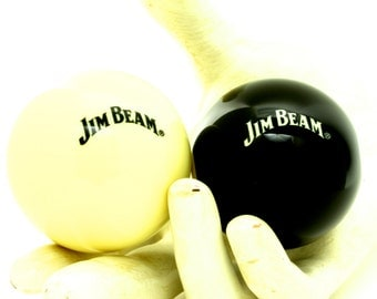 Pool Snooker Billiard Lucky Number 8 and Cue Ball Black and White Man Cave Game Room - Jim Beam Collectible