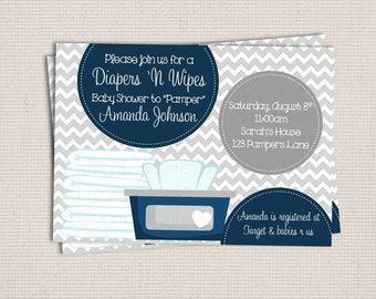 Diaper and Wipe Gray & Navy Baby Boy Custom Printable Baby Shower Invitation