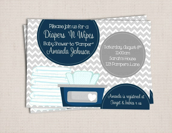 to diaper and wipe gray navy baby boy custom printable baby shower
