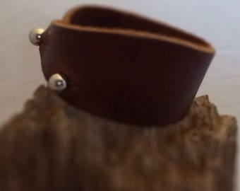Leather cuff with 2 large studs