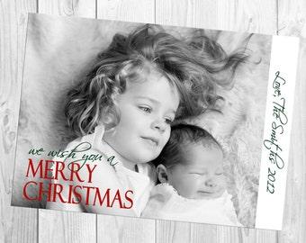 DIY Print Yourself Full One Photo Christmas Card