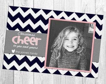 DIY Print Yourself One Photo Chevron Christmas Card