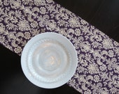 Damask Table Runner in Deep Purple & Ivory