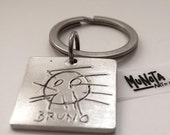 square key ring personalized with your own drawing.ideal for fathers day