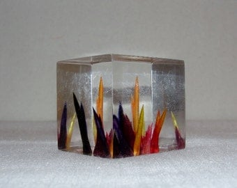 Cube Paper Weight Vintage with Colorful Spikes