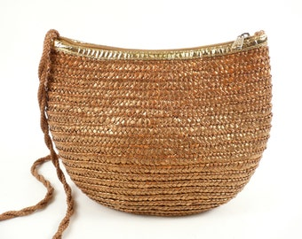 Vintage 80s Linea 3 Milano Moon Purse Bronze Metallic Woven Straw Bucket Shoulder Bag S M