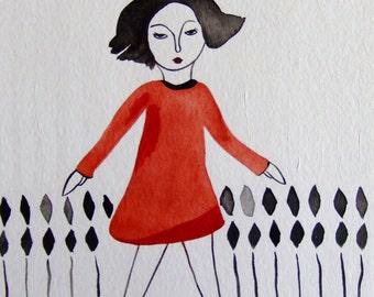 Portrait Girl Portrait Woman Portrait Art Portrait Wall Art Portrait Fine Art Black Red Portrait Watercolor Portrait Ink Portrait Modern