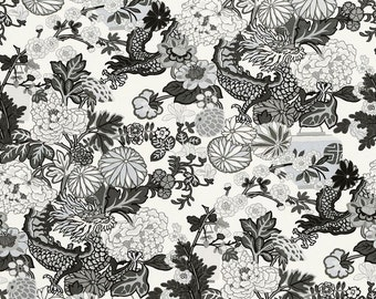 SCHUMACHER Chinoiserie CHIANG Mai DRAGON Linen Fabric 10 yards Grey Multi