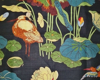 Lee Jofa KRAVET NYMPHEUS BIRDS Toile Linen Fabric 10 Yards Black Green Multi