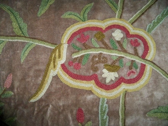 Pasari jakara jacobean wool crewel embroidered velvet