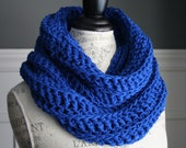 ROYAL BLUE Chunky Crocheted Infinity Scarf
