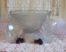 Vintage Pedestal Punch Bowl 2 Piece with 6 Glass Punch Cups and Plastic Ladle  B618
