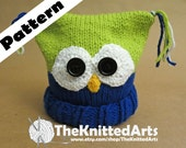 12 Month Knit PDF Hat Pattern - Owl Knit Hat With Button Eyes