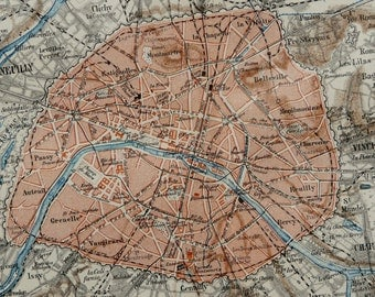 1890 Antique city map of PARIS, FRANCE. 126 years old map.