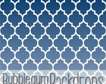 NAVY OMBRE QUATREFOIL - Vinyl Photography Backdrop Photo Prop