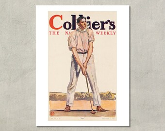 "Colliers Weekly Magazine Cover Art, ""Fore"",  1908 - 8.5x11 Poster Print - also available in 11x14 and 13x19 - see listing details"