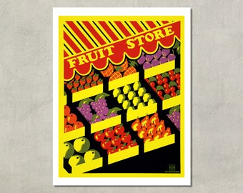 Fruit Store, WPA Poster, 1938 - 8.5x11 Poster Print - also available in 11x14 and 13x19 - see listing details