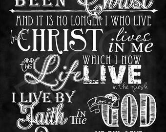Scripture Art- Galatians 2:20 Chalkboard Style