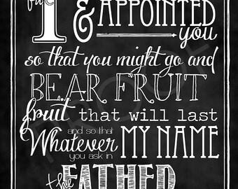 Scripture Art - John 15:16 Chalkboard Style