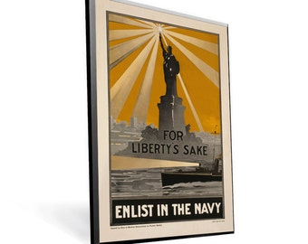 "WPA Reprint ""Enlist in the Navy Liberty"" on 11x17 PopMount Ready to Hang FREE Shipping (Contl US)"