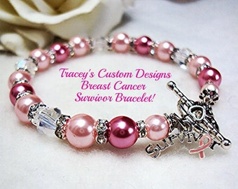 Stunning BREAST CANCER SURVIVOR Bracelet - Custom Made Designs