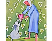 Whimsical Valentine White Dog and Woman 8x10 Glicee Print from Original Painting - Heart of Mine - Korpita ebsq