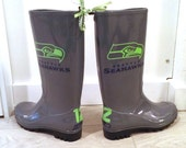 Grey and neon green Russell Wilson Seahawks Custom Made-to-Order Rain boots Seattle Seahawks 12th Man rainboots Grey