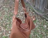 Distressed / Brown  Lambskin Leather Hobo Bag