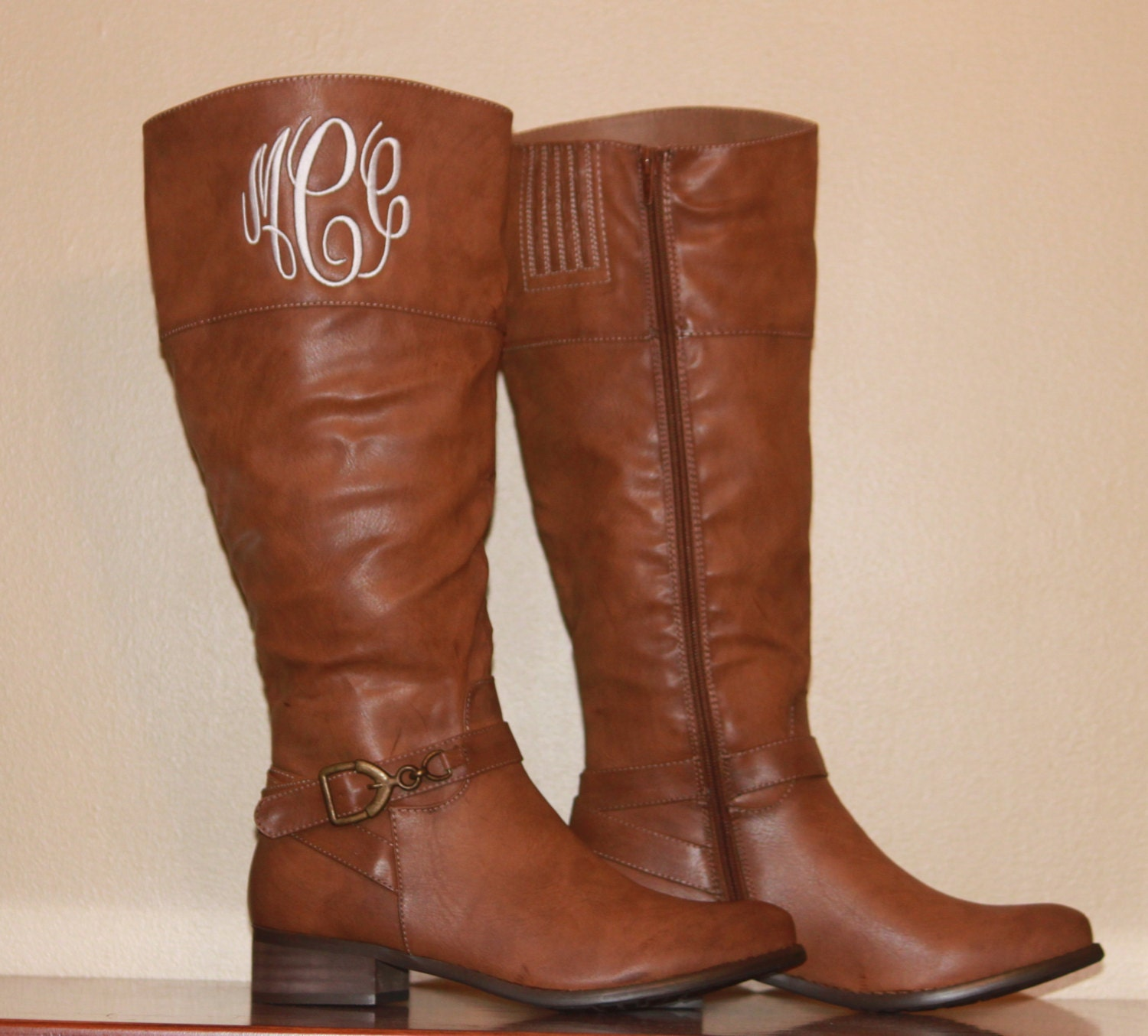 Monogram Personalized Quilted Boots Tall Women S Leather
