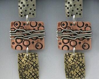 Mixed Metal Earrings, Tri Color Metal Earrings, Dangle Earrings, Wire Wrapped Earrings, Copper, Silver and Gold Earrings, RP0483