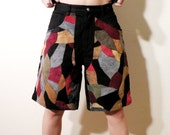 Vintage Men's Machine Denim and Suede Shorts Size 30