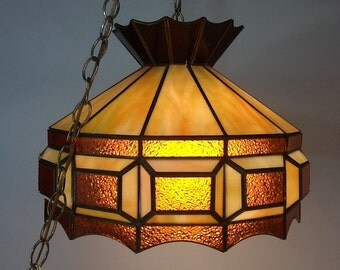 Vintage Stained Glass Swag Light Pendant Light