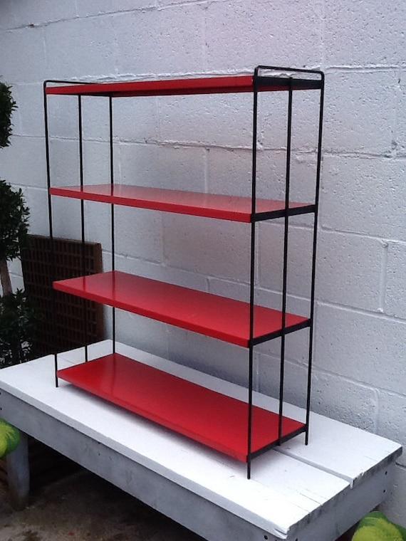 vintage metal shelving unit red metal shelf unit. Black Bedroom Furniture Sets. Home Design Ideas