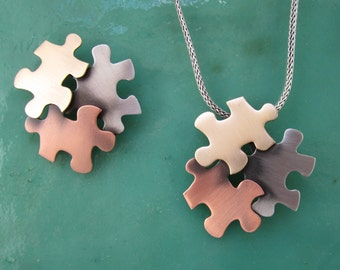 Autism Awareness Brooch- Autism Jewelry- Autism Necklace- Puzzle Pieces