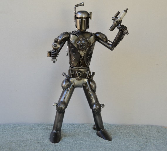 Hand Made BOBA FETT 12 inches Recycled Scrap Metal