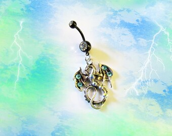 The Mighty Lord Dragon, Tibetan Silver, With Blue &Sea Crystals, Fantasy Belly Button Ring, Belly Button Jewelry For Women or Teens 1A101