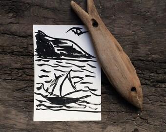 Nautical black & white sketches sail boat art print illustrations seascape painting