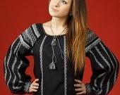 Black Vyshyvanka women. Ethnic sorochka. Ukrainian embroidered women's blouse. National ukrainian clothing XS-5XL. Ukrainian ethnic clothing